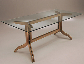 Spirit Song Rectangular Dining Glass Top Table